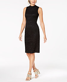 Nine West Lace Mock-Neck Sheath Dress