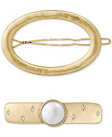 Lucky Brand 2-Pc. Set Open Circle & Crystal and Imitation Pearl Hair Barrettes, Created for Macy's