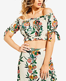 GUESS Off-The-Shoulder Crop Top
