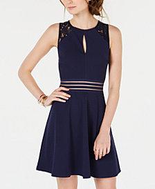 City Studios Juniors' Lace-Trim Fit & Flare Dress