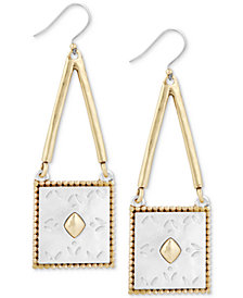 Lucky Brand Two-Tone Patterned Square Drop Earrings