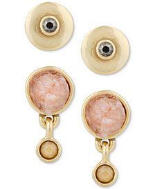 Lucky Brand Gold-Tone 2-Pc. Set Crystal & Druzy Stone Stud Earrings