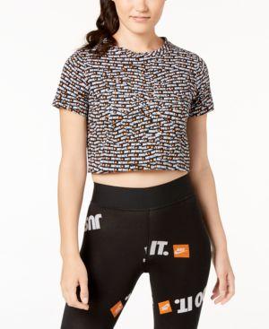 Sportswear Cotton Just Do It Cropped Top in Black