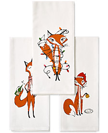 kate spade new york 3-Pc. Festive Foxes Kitchen Towel Set