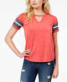 Hippie Rose Juniors' Cutout Varsity T-Shirt