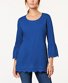 Charter Club Petite Crochet-Hem Tunic, Created for Macy's