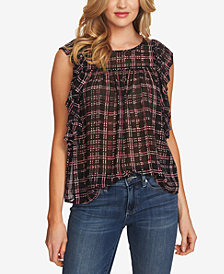 CeCe Ruffled Plaid Top