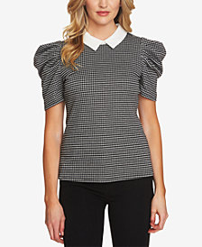 CeCe Checked Puff-Sleeve Point-Collar Top