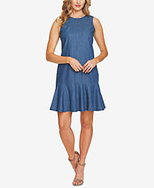 CeCe Cotton Bow-Detail Denim Dress