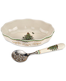 Spode Christmas Tree Gold Cranberry Dish and Server