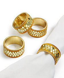 Leila's Linens 4-Pc. Gold Bling Napkin Ring Set