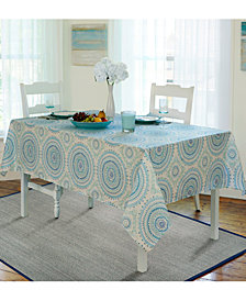 "Elrene Circle Stitch  60"" X 84"" Oval Tablecloth"