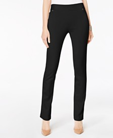 I.N.C. Curvy Pull-On Straight-Leg Pants, Created for Macy's