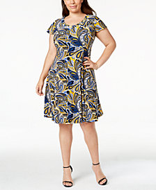 Anne Klein Plus Size Paisley-Print Fit & Flare Dress