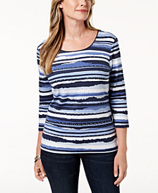 Karen Scott Petite Studded Striped Top, Created for Macy's