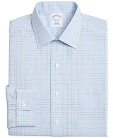 Brooks Brothers Men's Regent Slim-Fit Non-Iron Blue Brown Overcheck Dress Shirt