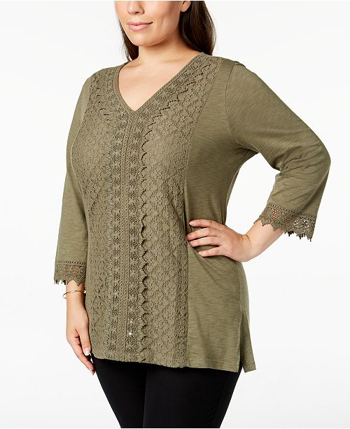 4e3fedd8a94 JM Collection. Plus Size Lace-Trim Tunic