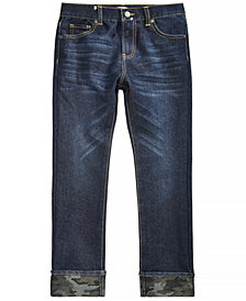 Epic Threads Big Boys Camo-Cuffed Jeans, Created for Macy's