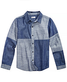 Epic Threads Big Boys Mixed-Denim Cotton Shirt, Created for Macy's