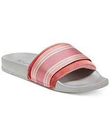 I.N.C. Microvelour Varsity Slide Slippers, Created for Macy's