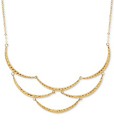 "Scalloped Bar 17"" Statement Necklace in 10k Gold"