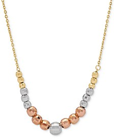 """Tricolor Graduated Bead 18"""" Statement Necklace in 10k Gold, White Gold & Rose Gold"""