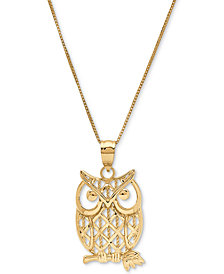 "Owl Openwork 18"" Pendant Necklace in 10k Gold"