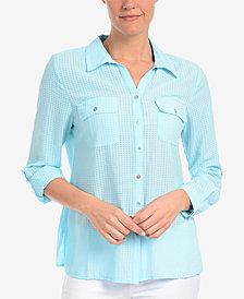 NY Collection Windowpane Utility Shirt