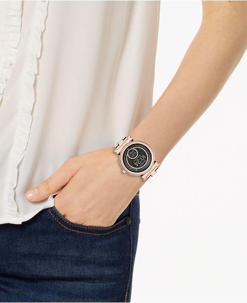 97ec4ef25911 ... Michael Kors Access Women s Sofie Rose Gold-Tone Stainless Steel  Bracelet Touchscreen Smart Watch ...