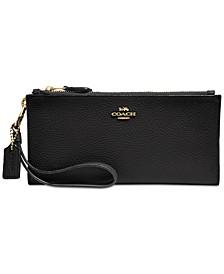 Double Zip Wallet in Pebble Leather