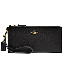 COACH Double Zip Wallet in Pebble Leather