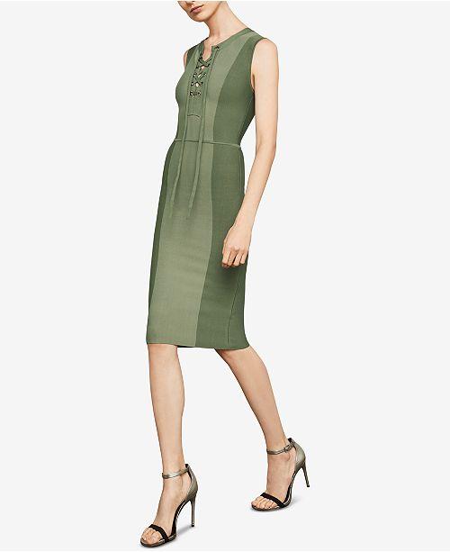 Sheath GREEN Dress Up COMBO BCBGMAXAZRIA EARTH Lace xqT8wAES