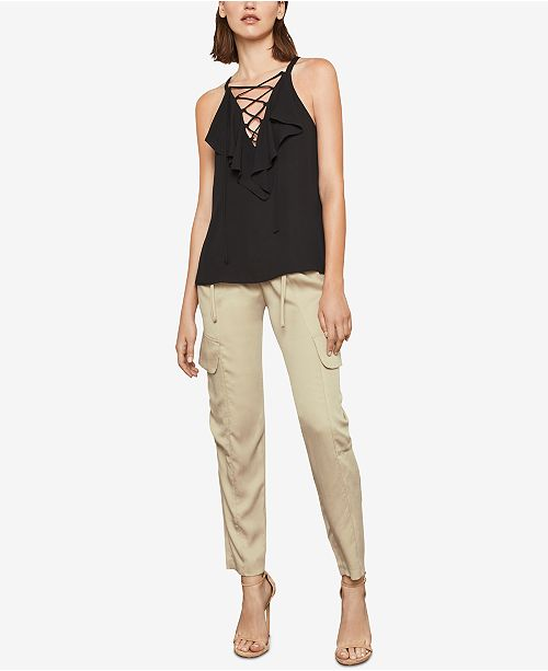 Ruffled BLACK Lace Up BCBGMAXAZRIA Top d4xAOnHwdq