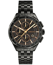 Versace Men's Swiss Chronograph Glaze Black Stainless Steel Bracelet Watch 44mm