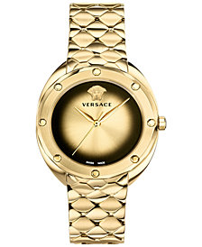Versace Women's Swiss Shadov Gold-Tone Stainless Steel Bracelet Watch 38mm