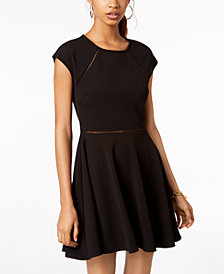 B Darlin Juniors' Laddered-Trim Fit & Flare Dress