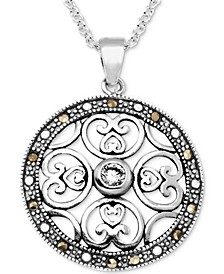 """Marcasite & Crystal Openwork Circle 18"""" Pendant Necklace in Fine Silver-Plate"""
