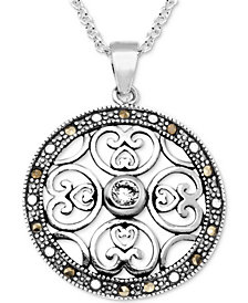 "Marcasite & Crystal Openwork Circle 18"" Pendant Necklace in Fine Silver-Plate"