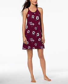 I.N.C. Floral-Hem Satin-Trim Chemise, Created for Macy's