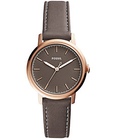 Fossil Women's Neely Gray Leather Strap Watch 34mm