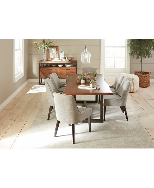 Furniture Everly Dining Furniture, 7-Pc. Set (Table & 6 Square Back Side Chairs), Created for Macy's