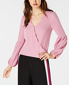 Bar III Blouson-Sleeve Surplice Top, Created for Macy's