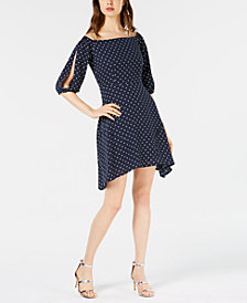 Bar III Printed Off-The-Shoulder Dress, Created for Macy's