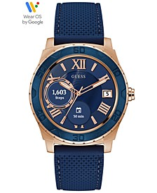 Connect Men's Blue Silicone Strap Touchscreen Smart Watch  44mm