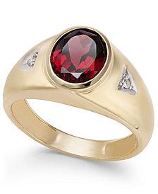 Men's Rhodolite Garnet (3 ct. t.w.) & Diamond Accent Ring in 14k Gold