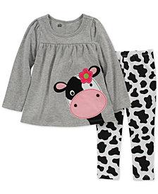 Kids Headquarters Baby Girls 2-Pc. Split-Back Cow Tunic & Leggings Set
