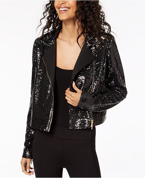 0eddf553 Rachel Zoe Cassie Sequined Moto Jacket & Reviews - Jackets ...