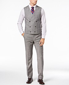 Men's Classic-Fit UltraFlex Stretch Black/White Windowpane Double-Breasted Suit Vest