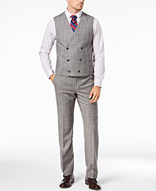 Lauren Ralph Lauren Men's Classic-Fit UltraFlex Stretch Black/White Windowpane Double-Breasted Suit Vest
