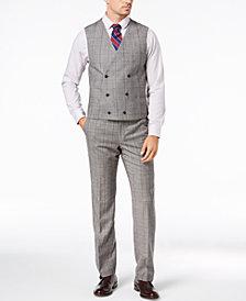 Lauren Ralph Lauren Men's Classic-Fit UltraFlex Stretch Black/White Windowpane Double-Breasted Suit Vest